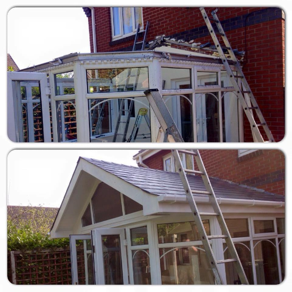 Before and after shows a new conservatory roof put on by PS Joinery and Building